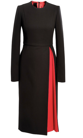 Black Wool Dress  With Opposite Pleat in Red