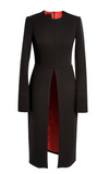 Black Wool Dress Open On A Front