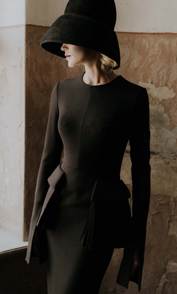 Classic Black Wool Dress With Front Pockets
