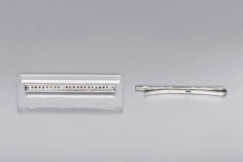 Silver tie clip with inscription in Latin