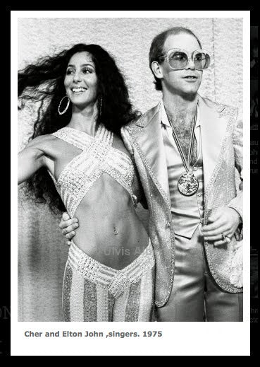 Ulvis Alberts framed photo Elton John And Cher
