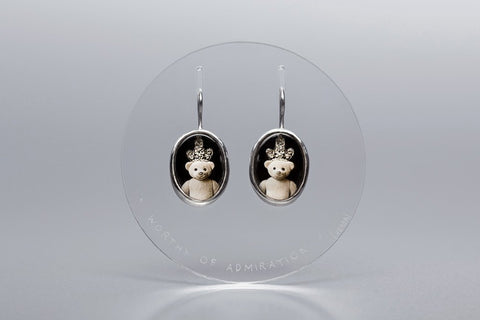 "Teddy-bears silver earrings with photos, rock crystal and Latin inscription ""Worth delight"""