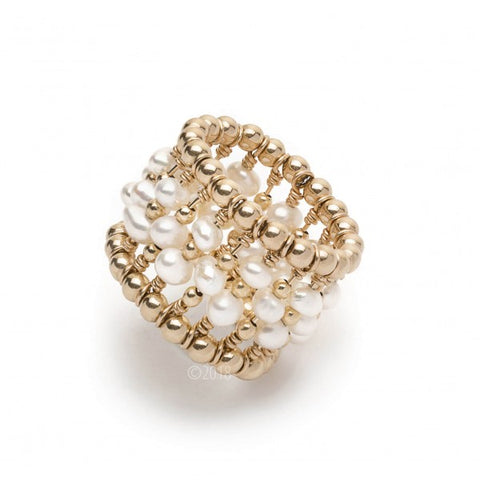 GOLD FILLED PEARL BEADED RING
