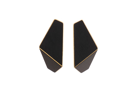 Folded Slim Earrings Black