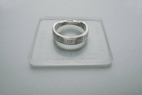 Classic silver ring with inscription in Latin