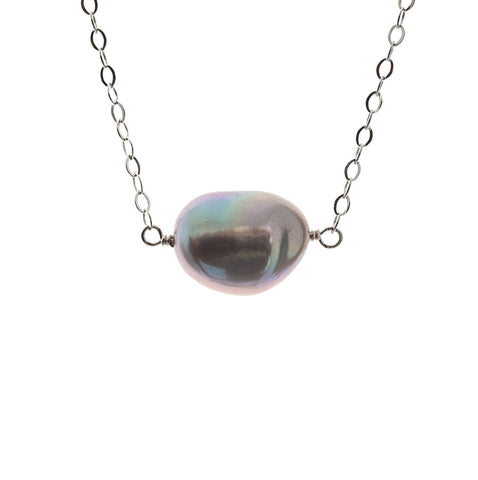 Petite Coco Grey Pearl Silver Chain Necklace
