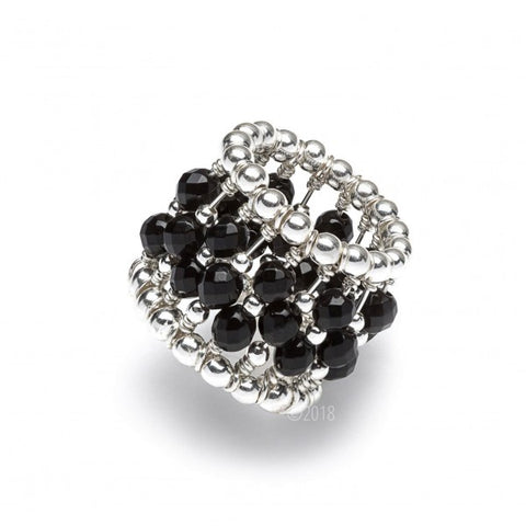 STERLING SILVER BLACK ONYX BEADED RING