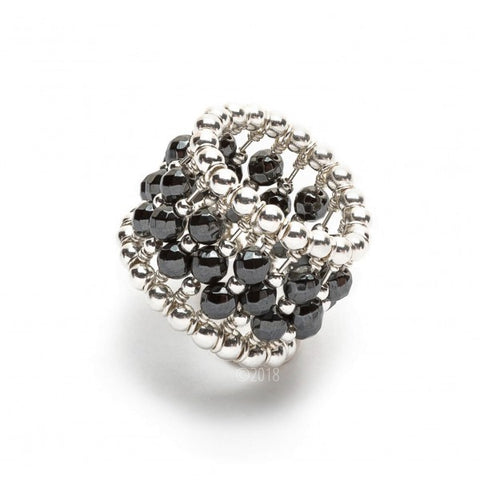 STERLING SILVER HEMATITE BEADED RING