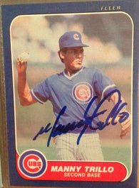 Manny Trillo Signed 1986 Fleer Baseball Card - Chicago Cubs