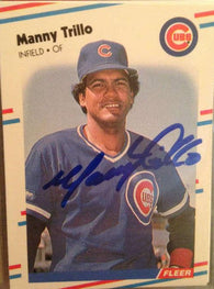 Manny Trillo Signed 1988 Fleer Baseball Card - Chicago Cubs