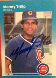 Manny Trillo Signed 1987 Fleer Baseball Card - Chicago Cubs
