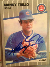 Manny Trillo Signed 1989 Fleer Baseball Card - Chicago Cubs