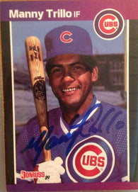 Manny Trillo Signed 1989 Donruss Baseball Card - Chicago Cubs