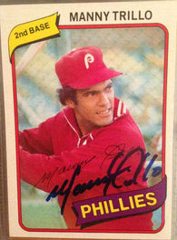 Manny Trillo Signed 1980 Topps Baseball Card - Philadelphia Phillies