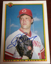 Tom Browning Signed 1990 Bowman Baseball Card - Cincinnati Reds