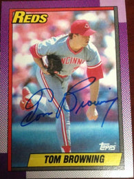 Tom Browning Signed 1990 Topps Baseball Card - Cincinnati Reds