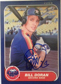 Bill Doran Signed 1986 Fleer Baseball Card - Houston Astros