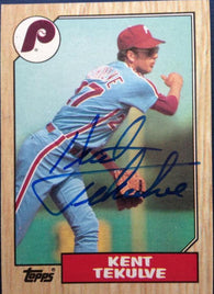 Kent Tekulve Signed 1987 Topps Baseball Card - Philadelphia Phillies - PastPros