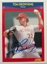 Tom Browning Signed 1989 Score Superstars Baseball Card - Cincinnati Reds