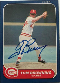 Tom Browning Signed 1986 Fleer Baseball Card - Cincinnati Reds