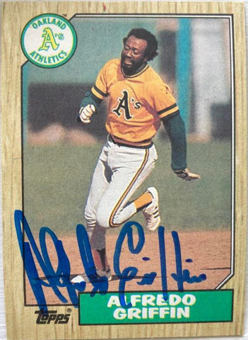 Alfredo Griffin Signed 1987 Topps Baseball Card - Oakland A's