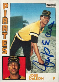 Jose Deleon Signed 1984 Nestle Baseball Card - Pittsburgh Pirates