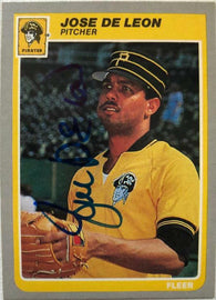 Jose Deleon Signed 1985 Fleer Baseball Card - Pittsburgh Pirates