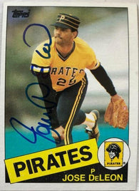 Jose Deleon Signed 1985 Topps Baseball Card - Pittsburgh Pirates