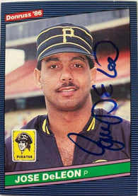 Jose Deleon Signed 1986 Donruss Baseball Card - Pittsburgh Pirates