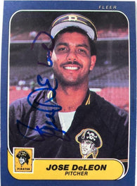 Jose Deleon Signed 1986 Fleer Baseball Card - Pittsburgh Pirates
