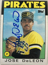 Jose Deleon Signed 1986 Topps Baseball Card - Pittsburgh Pirates