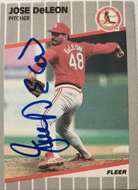 Jose Deleon Signed 1989 Fleer Baseball Card - St Louis Cardinals