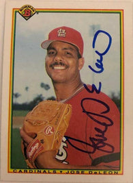 Jose Deleon Signed 1990 Bowman Baseball Card - St Louis Cardinals