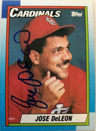 Jose Deleon Signed 1990 Topps Baseball Card - St Louis Cardinals