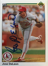 Jose Deleon Signed 1990 Upper Deck Baseball Card - St Louis Cardinals