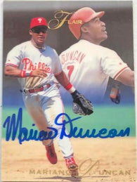 Mariano Duncan Signed 1993 Flair Baseball Card - Philadelphia Phillies