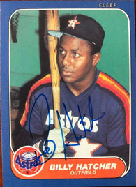 Billy Hatcher Signed 1986 Fleer Baseball Card - Houston Astros