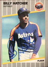 Billy Hatcher Signed 1989 Fleer Baseball Card - Houston Astros