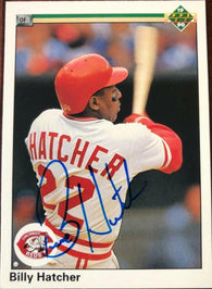 Billy Hatcher Signed 1990 Upper Deck Baseball Card - Cincinnati Reds