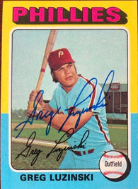 Greg Luzinski Signed 1975 Topps Baseball Card - Philadelphia Phillies - PastPros