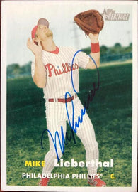 Mike Lieberthal Signed 2006 Topps Heritage Baseball Card - Philadelphia Phillies