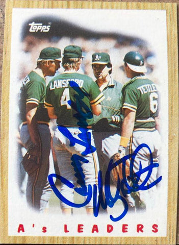 Mickey Tettleton and Carney Lansford Signed 1987 Topps Baseball Card - Oakland A's