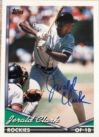 Jerald Clark Signed 1994 Topps Baseball Card - Colorado Rockies - PastPros