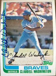 Claudell Washington Signed 1982 Topps Baseball Card - Atlanta Braves