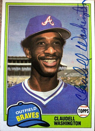 Claudell Washington Signed 1981 Topps Baseball Card - Atlanta Braves