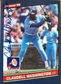 Claudell Washington Signed 1986 Donruss Baseball Card - Atlanta Braves