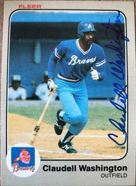 Claudell Washington Signed 1983 Fleer Baseball Card - Atlanta Braves