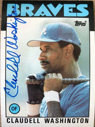 Claudell Washington Signed 1986 Topps Baseball Card - Atlanta Braves