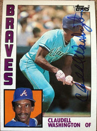 Claudell Washington Signed 1984 Topps Baseball Card - Atlanta Braves