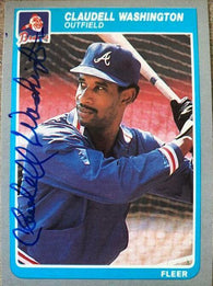 Claudell Washington Signed 1985 Fleer Baseball Card - Atlanta Braves